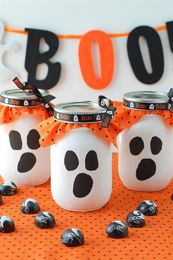 Mason Jar Ghost Candy Gift